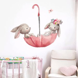 Cute Grey Ballet Wall Stickers for Kids Room Cat Baby Nursery Wall Decals Pink Flower for Girl Room Home Decoration