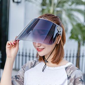 Designer Sun Hat Women Summer Plastic Visor Uv Protection Face With Shield Ponytail Wide Brim Safety Reusable Mask Anti spitting