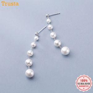 Trusta authentique 925 Sterling Sterling Synthesis Synthesis Pearl 6cm Long goujon boucles d'oreilles pour femmes filles bijoux de mariage DA480 Y1220