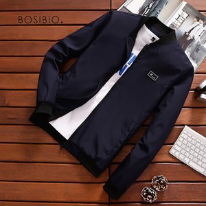 BOSIBIO Summer Autumn Mens Jacket Stand Collar Windbreaker Male Blue Baseball Jackets Casual Thin High Quality Size M-4XL LH-2 T200102