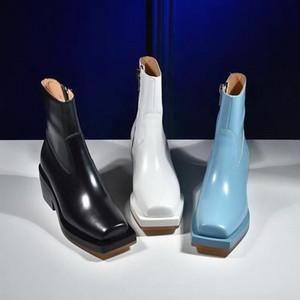 Quadratische Zeh kurze Stiefel Frau Knöchelstiefel Frauen Booties Dicke Sohle Schuhe Plattformen Europäischen Stil Weibliche Footware Schwarz Weiß