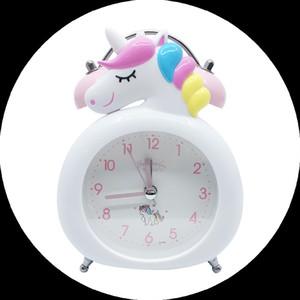Niños Lindo Dibujos animados Unicornio Reloj despertador Estudiantes Bell Alarm Reloj Niño Regalos Regalos de Navidad Mesa de escritorio Reloj de noche Relojes de agujas LJ200827