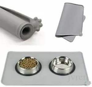 Gris 47 * 30 cm New Sile Pet Feeding Mat Non Slip Pet Food Placemat para el perro C Jllyhi MX_HOME