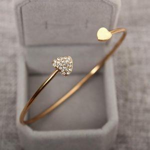 Heart - shaped Crystal Heart Open Bracelet Gold - plated Bangle Double Heart Bracelet wholesale free shipping