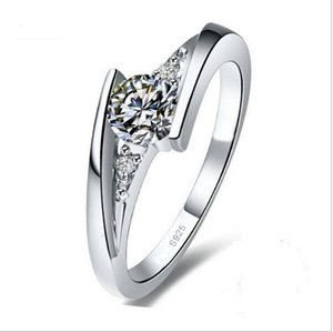 100% Pure 925 Sterling Silver Ring Set Luxury 0.75 Karat CZ Diamond Party Engagement Wedding Rings for Women JZR004