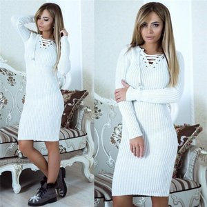 Women Autumn Winter V-Neck Long Sleeve Knit Bodycon Sweater Mini Dress Female Warm Party Dresses Ladies Clothing