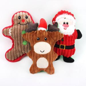 Dog Chew Toys Puppy Cute Cartoon Sound Toy Pets Christmas Molar Plush Doll Puppy Santa Snowman Gifts EWD3074