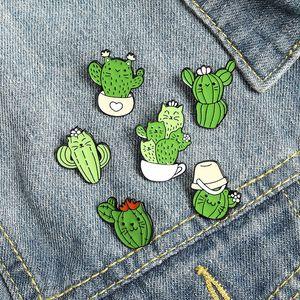 Carino Green Cat Cactus Solli Spille Spille per le Donne Ragazza Accessori per gioielli di moda Metallo Vintage Brooches Pins Badge Regalo all'ingrosso