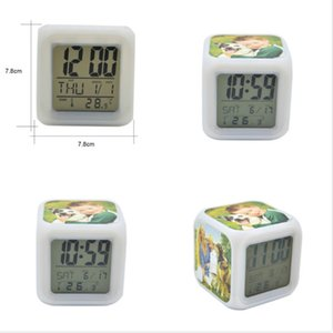 2021 Thermal Transfer Square LED Touch Screen Alarm Clock Colorful Luminous Electronic Colour Changes Number Prompt Clock Night Light H12506
