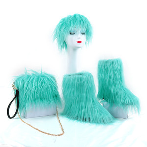 For And Wholesale High Quality Faux Warm Boots Fur Headband Fur Bag Purses Winter With Boot Women Retail Dpade