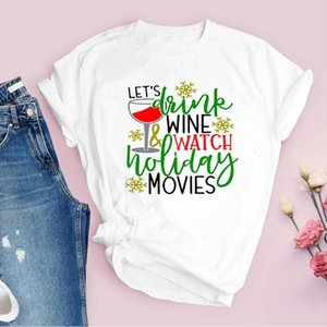 Tees for Women Print Letter Holiday Movie 90s Merry Christmas Ladies Clothes Lady Tops Clothing Female T Shirt Graphic T Shirt