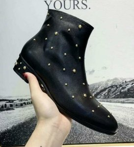 Brand New Womens Rivet Motorcycle Low Heel Snow Winter Ankle Boots Martin Cow Leather Booties SZ35-41