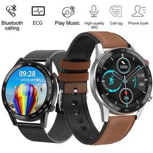 DT95 Lederband Smart Uhr für Männer Runder Touch Display Herzfrequenz Blutdruckmessgerät Smartwatch Bluetooth Telefon Anruf EKG-Uhr