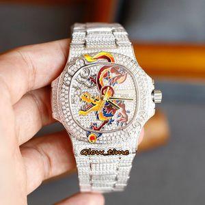 탑 버전 Pavé Diamond Enamel Dragon Design Cal.324 S 자동 5720/1 Mens-Watch Iced Full Diamond Case Bracelet 5719 시계