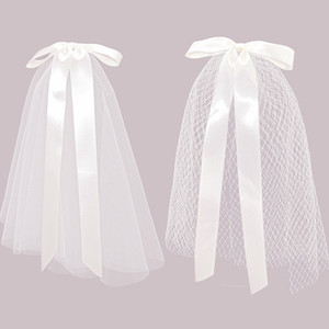 Hair Veil With Clips Handmade Wedding Accessories Engagement Hairwear White Ivory Headdress Hot Sale Bow knot Bridal Veil