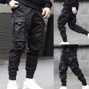 Cintas para hombres Bloque de color Black Pocket Pantalones de carga 2019 Harem Joggers Harajuku Sweetpant Hip Hop Pantalones F1210