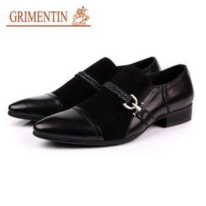 Gricsin мужская обувь продаж подлинной замшевой кожи черный бизнес итальянская мода мужская обувь LJ201015