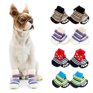 Antiskid Socks Stripe Dog Cat Protective Cover Scoks Pet Christmas Accessories