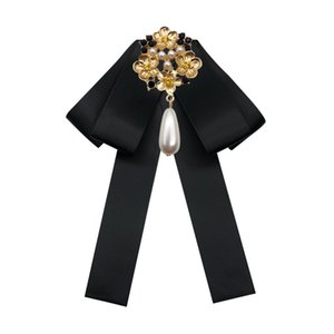 Vintage Ribbon Bow Tie Brooches Pin for Women Girl Lady Shirt Collar Elegant Brooch Pin Bow Knot Pearl