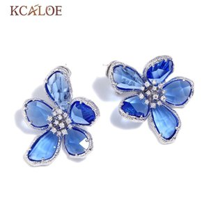 KCALOE Blue Transparent Crystal Big Flowers Stud Earrings For Women Rhinestone Wedding Engagement Silver Color Luxury Earring T200225