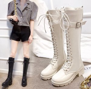 Hot Sale-2020 Women PU Leather Thick Bottom Boots Rear zipper Flat Women shoes party Fashion The knee boots