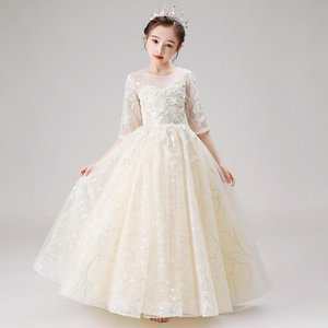 Flower Girl Dresses Ball Gown O-Neck Sequined Tulle Embroidery Floor-Length Beading Pearls Luxury Princess Kids Party Dress D164