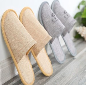 Disposable Slippers Linen Cotton Hotel SPA Home Guest Shoes Yellow Grey Comfortable Anti-slip Slippers Breathable Disposable Slipper HWC4085
