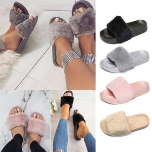 Wisefin Winter Mulheres Casa Chinelos com Faux Fur Sapatos Quentes Mulheres Deslizamento Em Feminino Feminino Slides Preto Cor-de-rosa Bege Cinza Tamanho37-41 D20 201204
