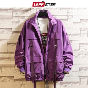LAPPSTER Men Streetwear Hip Hop Bomber Jacket Man Harajuku Ribbons Pockets Windbreaker Korean Fashions Clothing Plus Size 201123