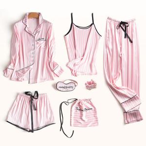 7pcs 5Pcs Pajamas Set Women Silk Summer Sexy Pyjamas Female Long Sleeve Shirt Pants Handwork Stitch Lingerie Striped Sleepwear Y200708