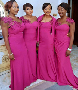 African Bridesmaids Dresses Mermaid Bridal With Fuchsia Lace Appliques Sheer Jewel Neck Chiffon Sweep Train Elegant Prom Evening Gowns