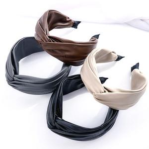 Кожаный PU Crest Knot Hairband Hairband Headband Аксессуары для волос