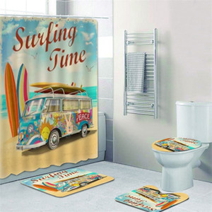 Old Retro Car Camper Van Shower Curtain for Bathroom Classic Surfing Summer Holiday Bath Curtains and Bath Mat Rug Carpet Set 201128