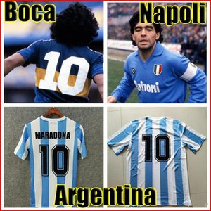 Commémorer Maradona Retro Napoli Napoles Boca juniors Argentine Soccer Jersey 1978 1981 1986 1987 Maillot de football Vintage Kit Uniforme classique
