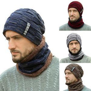 Autumn Winter Velvet Warm Knitted Bib Hats Beanie Hats Wool Men's Hats Outdoor Riding Fashion Hat 2-Pieces