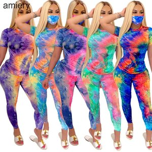 Womens Casual Piece Print Long Face Mask Set With Short Shirt Home Tie-dye Designer 2 Leggings Pant Sleeve Tracksuits T Clothing A116 Fkbiv