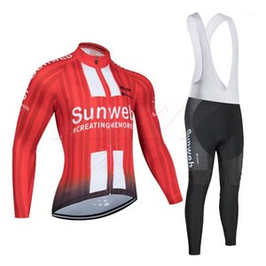 Зима 2020 SunWeb Team Cycling Jersey 9D Bike Bike Bike Bike Установить ROPA Ciclismo Red Mens Thermal Fleece Pro Bicycling Jersey Maillot Wear1