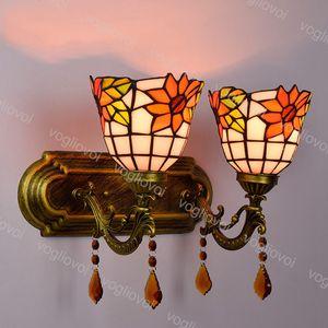 Lámpara de pared Cristal de girasol doble / de cabeza individual Retro Retro Luz delantera para salón comedor Dormitorio Balcón DHL