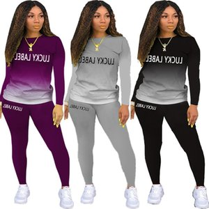 Europe and America hot New Long Sleeve Autumn And Winter luckylabel lettered gradient long sleeve two-piece set fashion round neck Suit