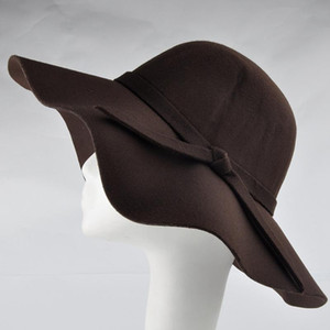 Sommer / Herbst Stilvolle Vintage Frauendame mit breiten Krempe Wolle Bowler Fedora Hut Floppy Cloche Sun Beach Bowknot Cap-42