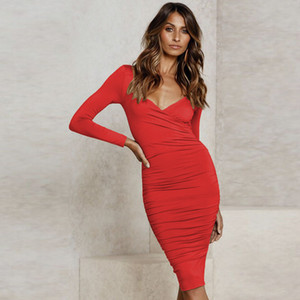 2020121032 V Neck Wrap Bodycon Midi Dress Black Winter Autumn Women Long Sleeve Ruched Cross Solid Sexy Casual Red Dresses