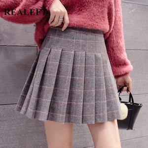 REALEFT 2020 New Autumn Winter Women Woolen Vintage Plaid Pleated Skirts High Waist A-Line Sexy Mini Skirts Ladies Skater Skirt F1214