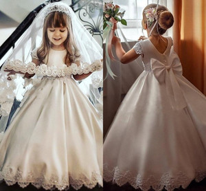 Lace Satin Flower Girl Dresses 2021 vestidos de desfile de niñas Jewel V-neck Applique Beaded Pearls Bow A-line Pricness Party Dress Kids