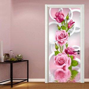 Door Sticker 3D Stereo Pink Flowers Circle Wallpaper Living Room Bedroom Abstract Art Vinyl Door Mural Self-Adhesive Home Decor