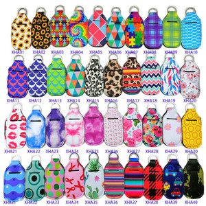 2020 New Neoprene Softball Printing Keychains Hand Sanitizer Bottle 30ML Portable Mini Bottles Holders Keyrings Party Favor Keychain