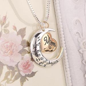 Bijoux cardiaques de haute qualité Je t'aime à la lune et retour maman pendentif collier mère jour cadeau cadeau en gros bijoux Valentines cadeau