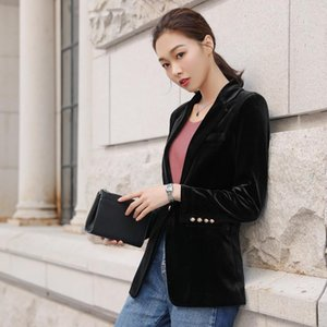 Women Suit Office lady Velvet Blazer Formal Work Small Gold Button Suit jacket Women Slim Long Sleeve Blazers feminino