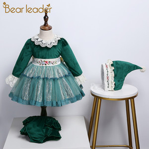 Bear Leader Girls Fashion Dresses 2020 New Kids Embroidery Flowers Party Costumes Baby Fancy Bowknot Dress Baby Clothes with Hat J1205