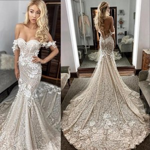 Vintage Lace Mermaid Wedding Dresses 2021 Arabic Sexy Off The Shoulder Floral Appliques Bridal Gowns Court Train Vestidos De Novia AL7818