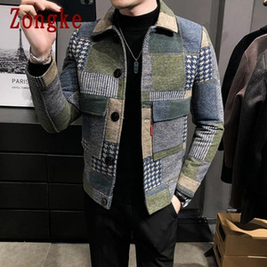 Zongke Yün Ekose Bombacı Kış Ceket Erkekler 2021 Japon Streetwear Erkekler Ceket Kış Ceketler Marka M-3XL Için